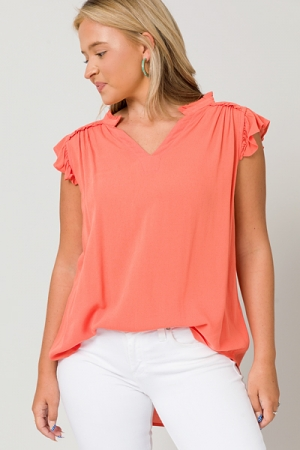 Shannon Solid Top, Salmon
