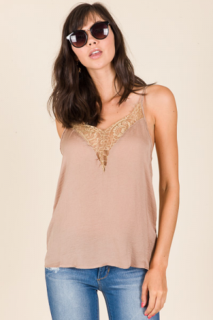 Lace Inset Cami, Taupe