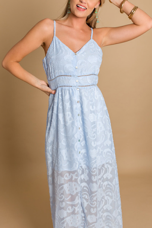 Blue Blooms Button Maxi