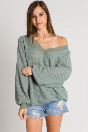 Banded Waffle Top, Sage