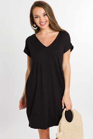 Creamy Knit Weekend Dress, Black