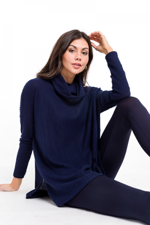 Cowl Thermal Tunic, Navy