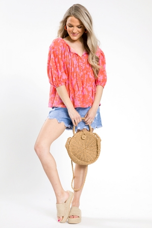 Floral Button Neck Top, Coral/Pink