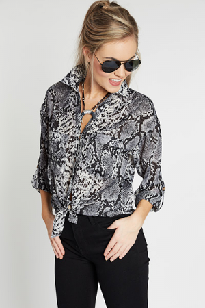 Wild Kingdom Button Blouse