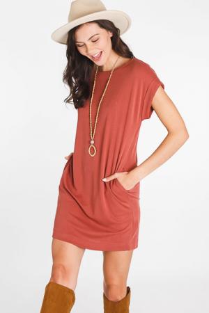 Clea Tee Dress, Rust