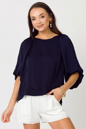 Puff of the Party Blouse, Navy