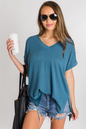 Oversize Ribbed Tee, Teal
