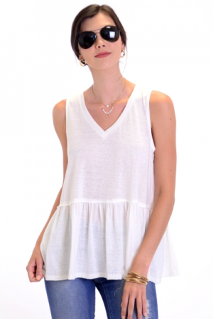 Bella Babydoll Tank, Off White