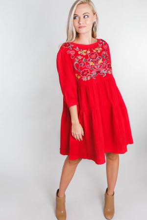 Go For Gauze Dress, Red