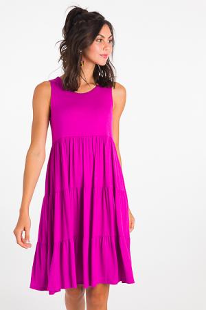 Stretchy Tiered Dress, Magenta