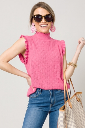 Ruffle Sleeveless Sweater, Pink