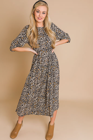 Cheetah Chiffon Midi, Black