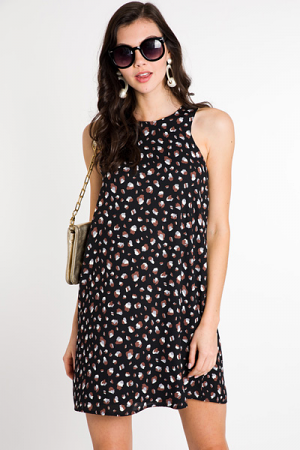 Leopard Tank Dress, Black
