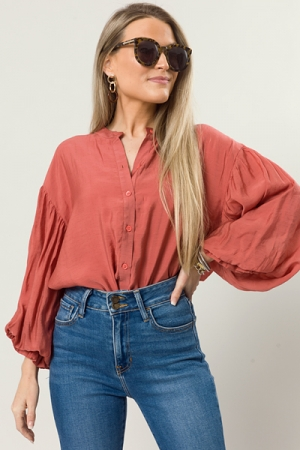 Puff Sleeve Buttoned Top, Rust