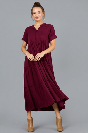 Polly Tiered Maxi, Burgundy