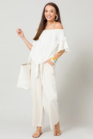 Tie Front Linen Top, White