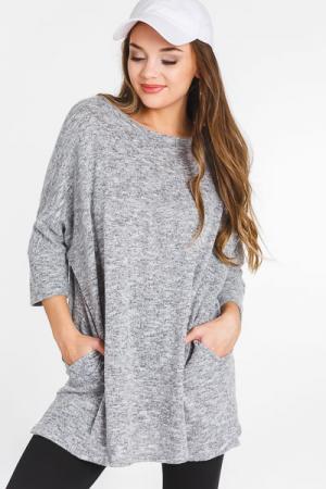 Oversized Brushed Tunic, Grey