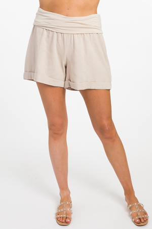 Fold Over Linen Shorts, Tan