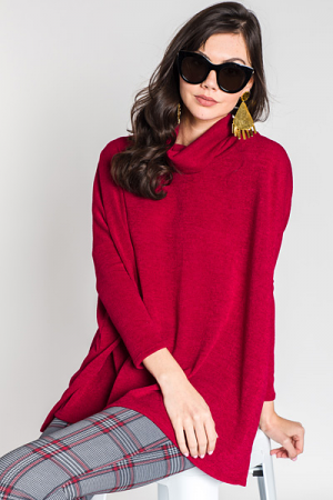 Cara Cowl Neck, Red