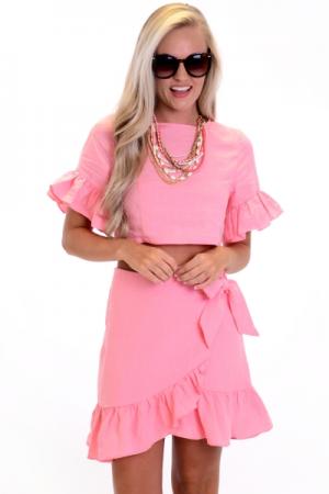 Pink Linen Wrap Skirt