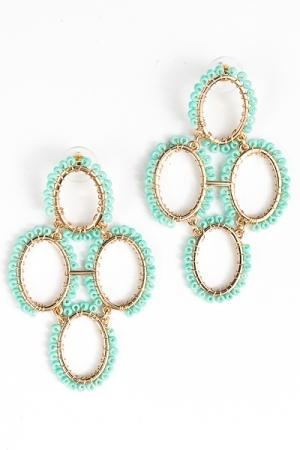 Oval Bead Link Earring, Turquoise