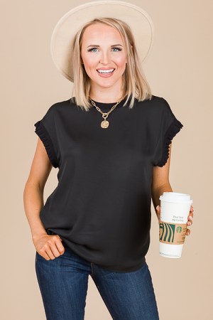 Libby Cap Sleeve Top, Black