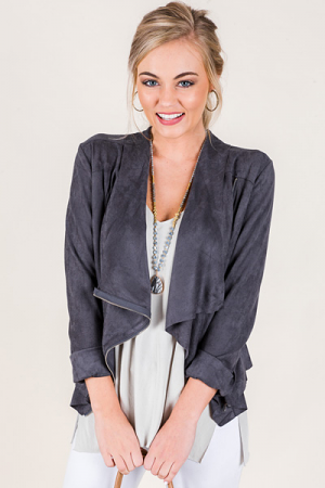 Zip Side Suede Jacket, Charcoal