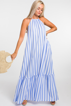 Striped Halter Maxi, Blue