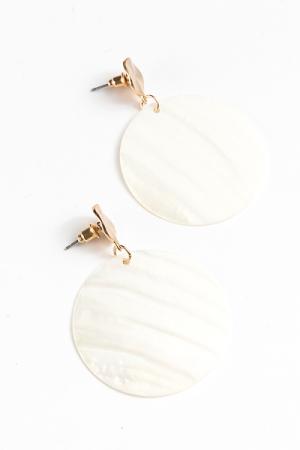 Circle Shell Dangle Earrings, Ivory