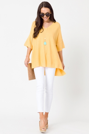 Solid Oversize Sweater, Yellow