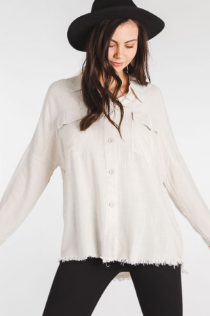 Frayed Button Down, Oatmeal