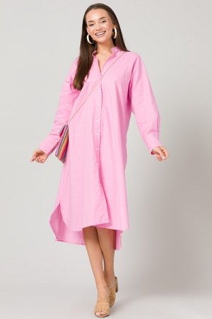 Loose Button Up Midi, Pink