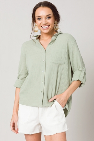 Gauze Button Down, Sage