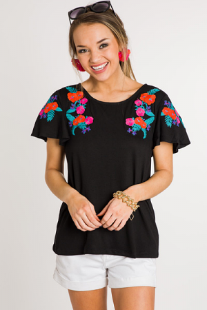 Neon Embroidered Tee, Black