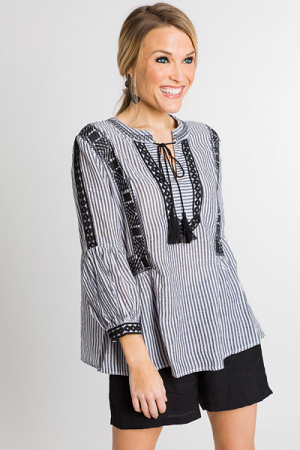 Stripes Embroidered Top, Black