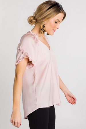 Ella Ruffle Top, Blush