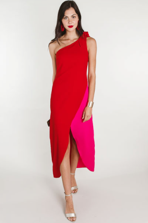 Colorblock One Shoulder Maxi