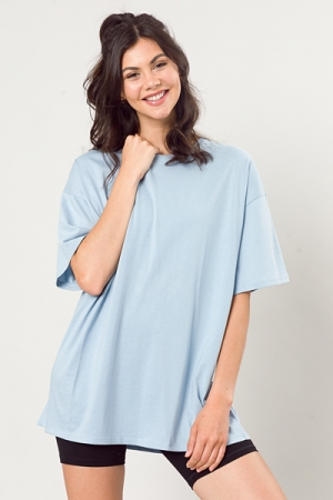 Oversize Solid Tee, Blue