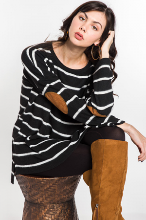 Elbow Patch Stripe Tunic