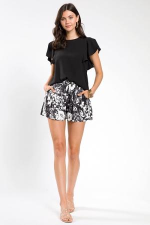 Printed Silky Shorts, Black