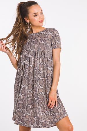 Neutral Snake Knit Dress