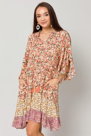 Floral Mix Loose Dress, Coral