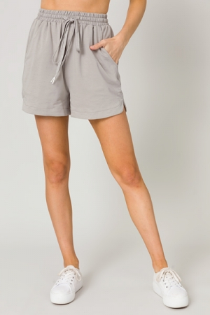 Solid Knit Shorts, Cement