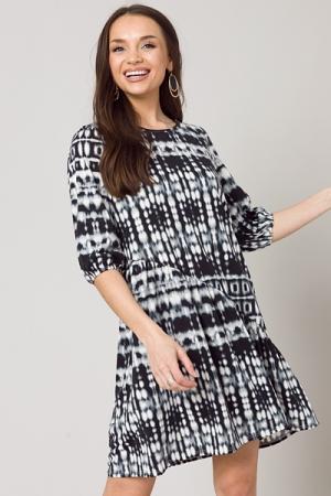 Tie Dye Slant Dress, Black