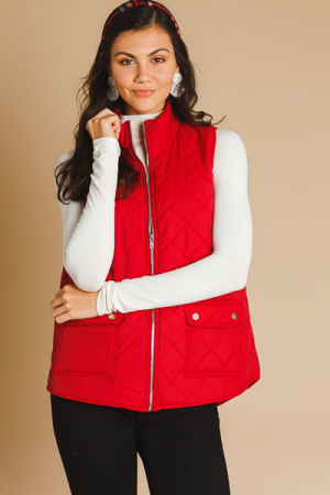 Quilted Diamond Vest, Red