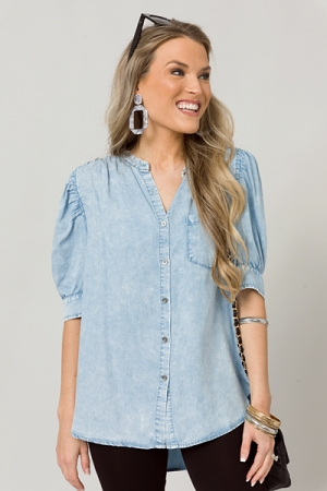 Puff Sleeve Chambray Button Top