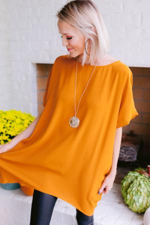 Chic Pocket Woven Tunic, Camel