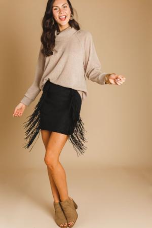 Fringe Suede Skirt, Black