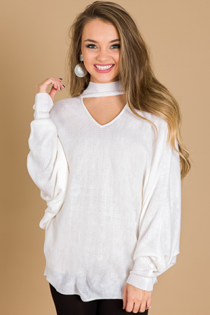 Clea Choker Sweater, Cream