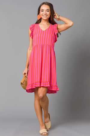 Blake Dress, Pink Orange Stripe